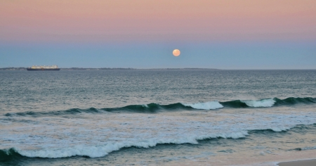 Full moon over Robben Island South Africa photo