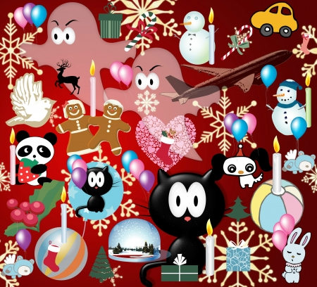 xmass: Poster with different xmass icones and symboles Stock Photo