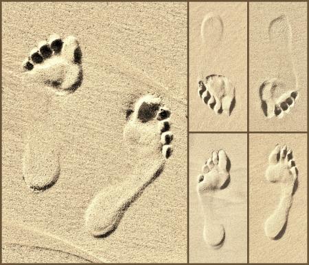 close ups: Collage of Footprint close ups on beach sand