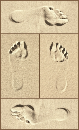Collage of Footprint close ups on beach sand photo
