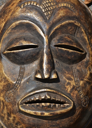 Close up of wooden african mask