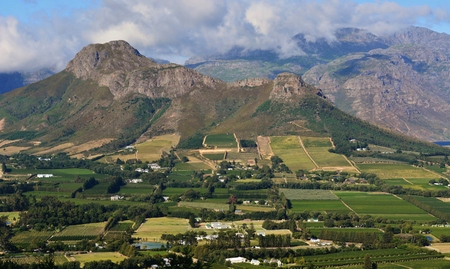 Landscape with Franschhoek mountains and Vineyards in South Africa photo