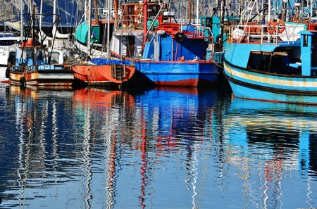 Landscape; sail yachts; small; harbour; boats; mountains; Hout Bay; south Africa; reflection; Atlantic Ocean; colorful; water; fun; sailing;