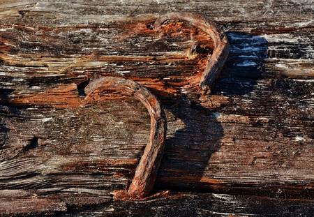 rusty nail: Close up de madera de deriva con clavo oxidado