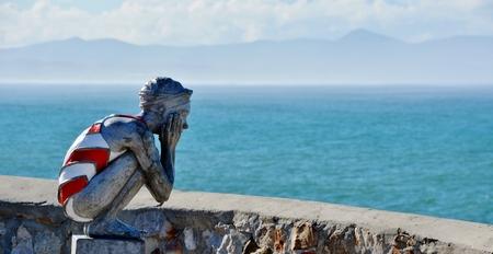 awaiting: Awaiting your return art at the sea
