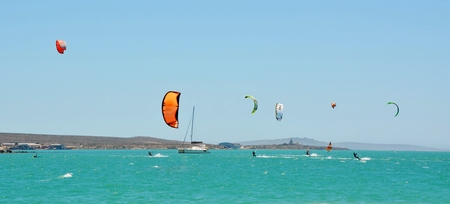 boarder: Landscape with Kite boarder having fun at Langebaan Lagoon