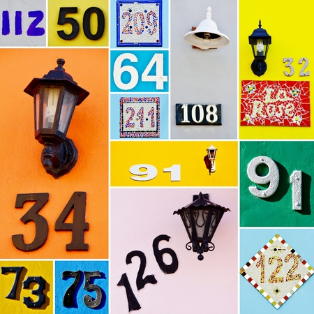 house walls: Collage with House numbers on colorful House walls