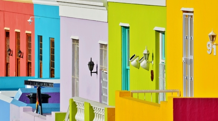 town houses: Landscape with colorful Houses in Bo-Kaap Cape Town