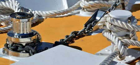 sail boat: Close up of rope and gear on a Sail boat