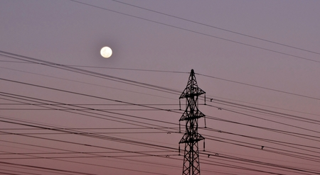 power lines: Landscape with power lines and Full Moon