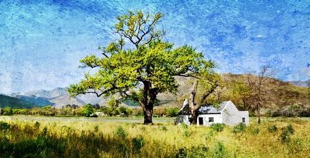 farm house: Landscape with little farm house and oak tree
