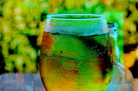 cider: Glass with ice cold cider abstract Stock Photo