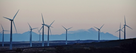 windfarms: Landscape with a wind park in the morning light