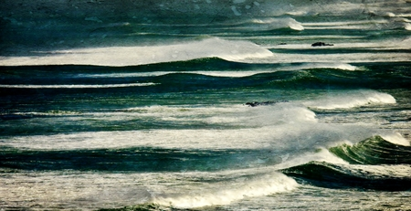 windy day: Seascape with Atlantic waves on a windy day...