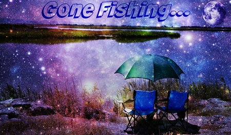 moon chair: Landscape with a nice place for fishing on the River Stock Photo