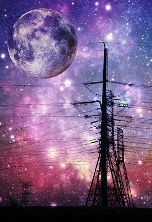 light transmission: Landscape with power lines and Night sky