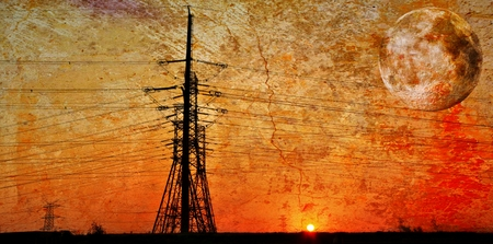 light transmission: Landscape with power lines at sunrise Stock Photo
