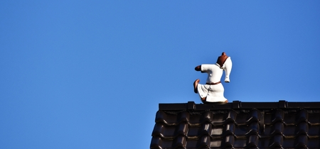 Close up of a sleepwalker on the roof