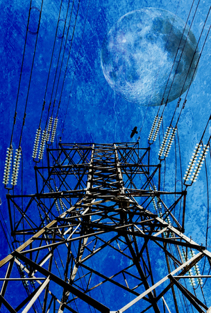 mixedmedia: Landscape with power lines and Full Moon