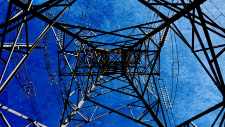 mixedmedia: Landscape with power lines and blue sky Stock Photo