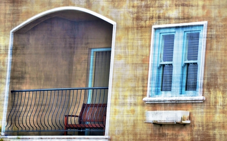 mixedmedia: Nice perspective of a balcony with a window with blue shutter