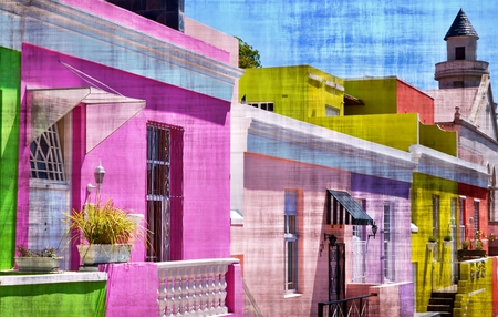 mixedmedia: Landscape with colorful houses in Bo Kaap Cape Town