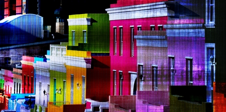 Landscape with colorful houses at Bo-Kaap Cape Town Stock Photo