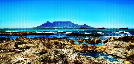 Landscape with Table Mountain across the sea