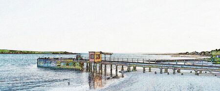 Landscape with a jetty at langebaan lagoon in the morning