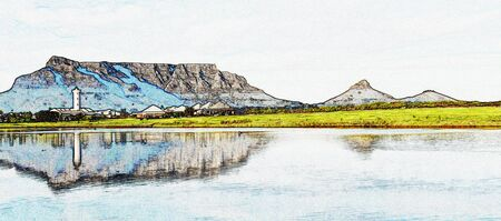 Landscape with the Milnerton Lagoon and a Lighthouse and Table Mountain 版權商用圖片