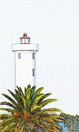 Landscape with a lighthouse on Woodbridge Island Milnerton 版權商用圖片