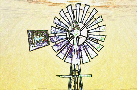 Landscape with a windmill 版權商用圖片