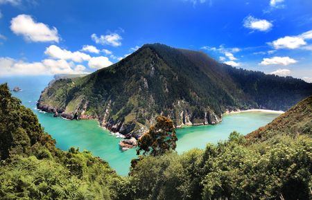 asturias: Marvellous scenic of the sea and mountains in Asturias,Spain