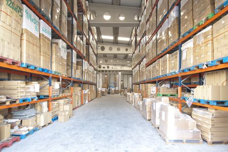 tenders: Manufacturing and storage warehouse indoor view