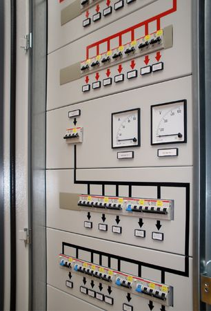 plc: Electrical front  panel equipment Stock Photo