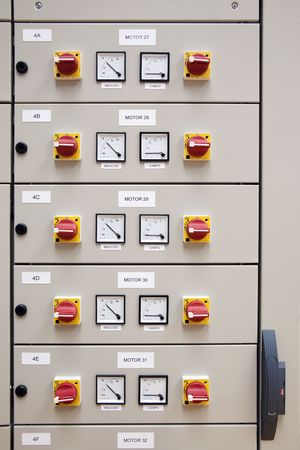 control centre: Electrical cubicle panel board motor control Stock Photo