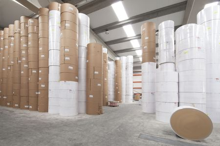 Paper rolls storage room photo