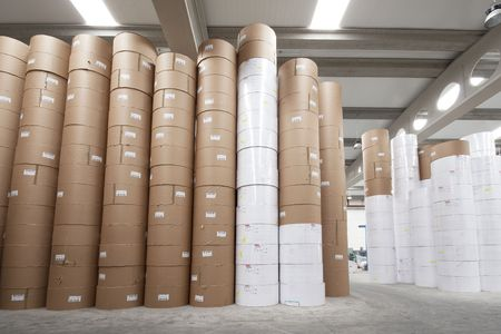 quantities: Paper rolls storage in newspaper industrial printing