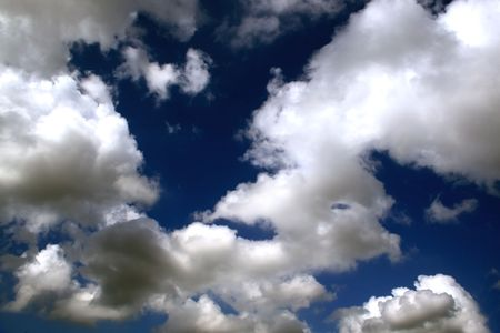 nebulous: Sky details,intense blue and clouds contrast Stock Photo