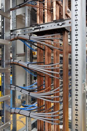 Wires and cooper in electrical panel board Stock Photo - 5690303