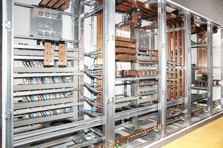 control center: Electrical panel construction detail Stock Photo