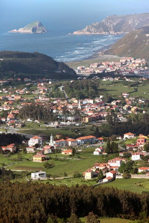 aereal: Somao and san Juan de la Arena, Coast village in Asturias, Spain