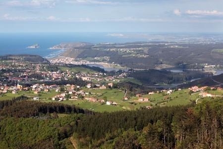 aereal: San Esteban de Pravia,Somao an San Juan de la Arena, tree villages in Asturias, Spain