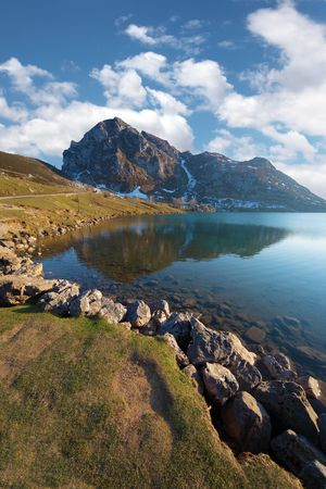 asturias: View of the lake Enol in Asturias, Spain