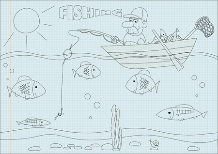 Old man fishing vector illustration Illustration