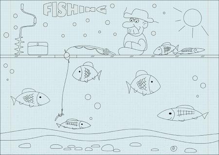 Old man fishing Vector illustration.