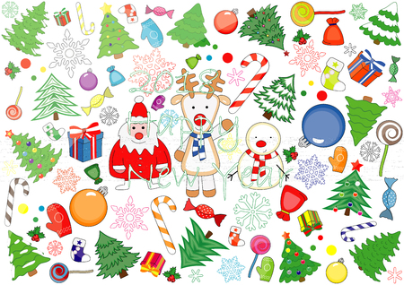 Christmas stickers concept vector illustration.