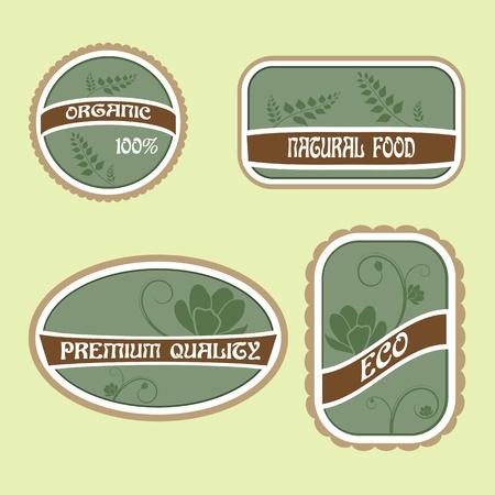 Set of Eco Natural Labels Vector