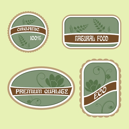 Set of Eco Natural Labels Stock Vector - 12248186