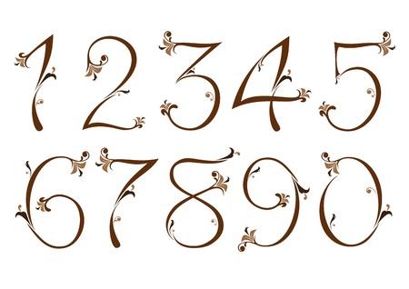 számok: Barna virágos számok